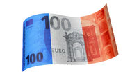 100 Euro note in blue white red (French flag).
