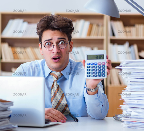 The funny accountant bookkeeper working in the office