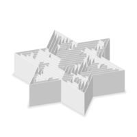 Star-shaped complicated gray labyrinth in isometric view on white
