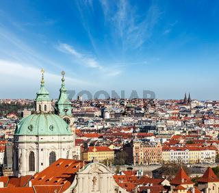 Aerial view of Prague from Prague Castle. Prague
