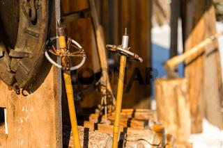 Old wooden ski poles snow winter cottage