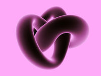 3D abstract geometric shape isolated on pink background.