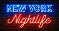 Neon sign on a brick wall - New York Nightlife