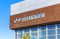 Hyundai dealership logo on the facade of official dealer