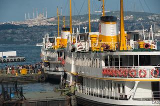 Turkish ferries at Karakoy port on the European side of Istanbul