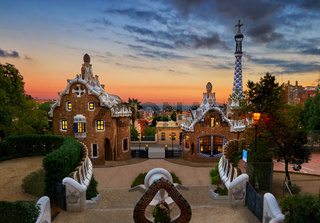 Park Guell in Barcelona, Spain at sunset