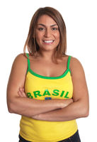 Laughing brazilian girl with crossed arms