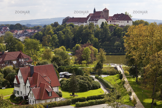 Iburg Castle over the town, Bad Iburg, Muensterland, Lower Saxony, Germany, Europe