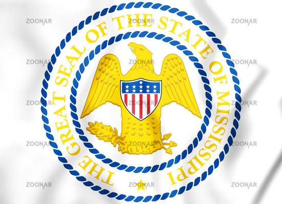 3D State Seal of the Mississippi state, USA. 3D Illustration.
