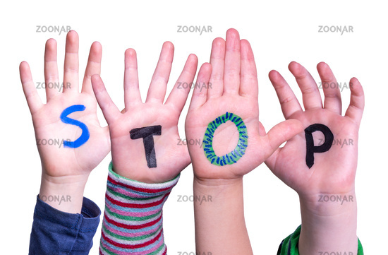 Children Hands Building Word Stop, Isolated Background