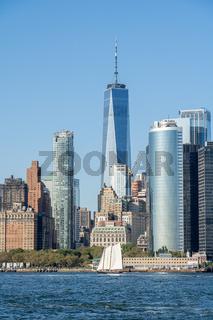 Sailboat and Lower Manhattan Skyline