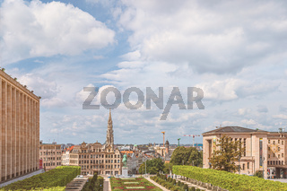 View over Brussels from Mont des Arts (Kunstberg)