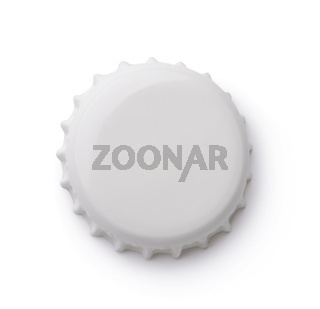 Top view of white bottle crown cap
