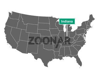 Indiana Ortsschild und Karte der USA - Indiana state limit sign and map of USA