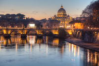 Rome overview with the Papal Basilica of St. Peter