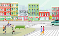 City silhouette with people on the sidewalk and elevated train, road traffic, illustration