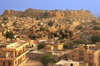 View of Jaisalmer fort and the city, India