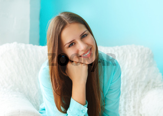 Close up portrait of a beautiful cute teen girl smilling
