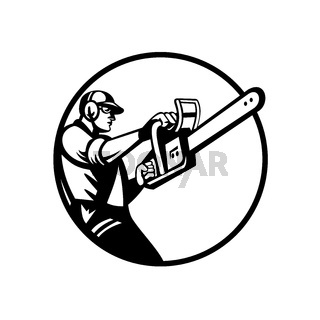 Arborist or Tree Surgeon Holding Chainsaw Side View Circle Retro Black and White