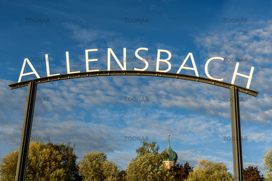 Town name and church steeple at the pier in Allensbach, Lake Constance, Baden-Wuerttemberg, Germany