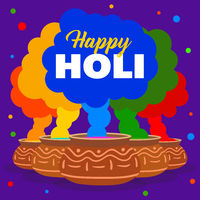 Colorful poster for Happy Holi festival