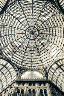 View of the glass dome of the Galleria Umberto in Naples, Italy