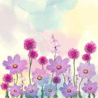 Purple flowers watercolor illustration.