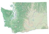 High resolution topographic map of Washington