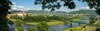 Decin. Czech Republic. Panoramic view of the old town, Elbe river (Labe) and Tetschen Castle.