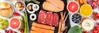 Food panorama, overhead shot. Proteins, rice, bread, cheese, fruit and vegetables, a flat lay