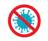 Stop coronavirus. Red prohibition sign-pregnant bacterium, virus. Medicine concept icon flat style. Isolated on a white background. Vector illustration