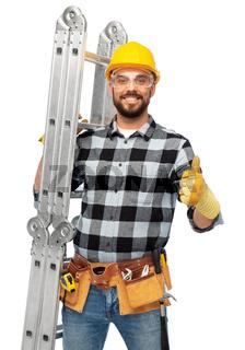 happy male worker or builder in helmet with ladder