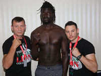 Heavyweight boxer Collins Ojal with trainer team before the SES boxing gala on 18.07.2020 Magdeburg