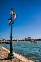 Venice, italy - mar 20, 2019 - lantern on the banks of the fondamenta delle zattere