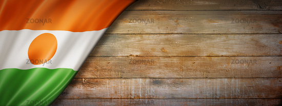 Niger flag on vintage wood wall banner
