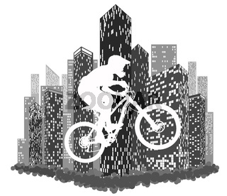 Silhouettes of cyclist on the background of city