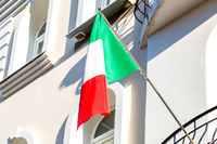Flag of Italy on the balcony of the house