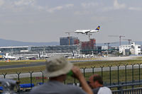 Viewpoint est at airport frankfurt is open again - airplane is landing