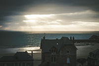 Pleneuf Val Andre city and beach view at sunset, Brittany, France