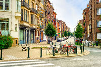 Cityscape, street, bicycles, Brussels, Belgium