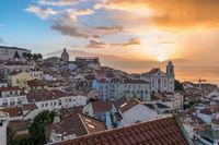 Lisbon Portugal sunrise city skyline at Lisbon Alfama district