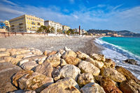 City of Nice Promenade des Anglais waterfront and beach view, French riviera