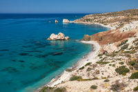 Petra tou Romiou or Aphrodite Rock Beach, one of the main attractions and landmarks of Cyprus island.