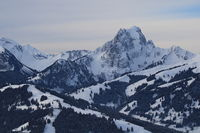 Eggli ski area and Mount Gummfluh seen from Horneggli, Switzerland.