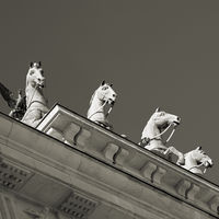 Quadriga at the Brandenburg Gate in Berlin seen from below