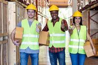 Diversity black and white warehouse worker portrait