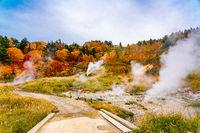 View of Fuke no Yu hot spring in autumn season