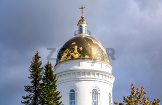 Golden dome with religious cross of orthodox cathedral