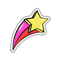 Colorful fashion sticker with falling yellow star, shiny pink and red trace, trendy patch badge isolated, vector illustration.