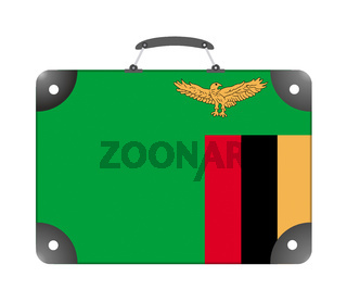 Zambia flag in the form of a travel suitcase on a white background